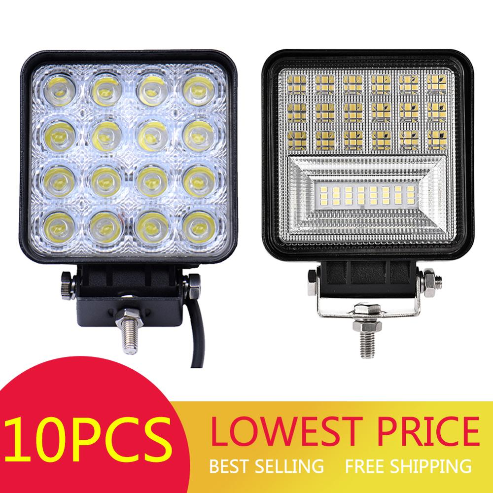 10PCS 48W Square DC12V-24V <font><b>LED</b></font> Work <font><b>Light</b></font> Flood Beam <font><b>Offroad</b></font> Boat <font><b>Car</b></font> Motorcycle SUV Night Driving Lighting image