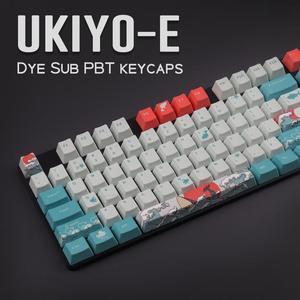 Image 4 - OEM PBT Keycaps 세트 Keycap 염료 승화 Ukiyo e 일본 만화 마우스 패드 GK61 체리 MX 스위치 기계식 키보드