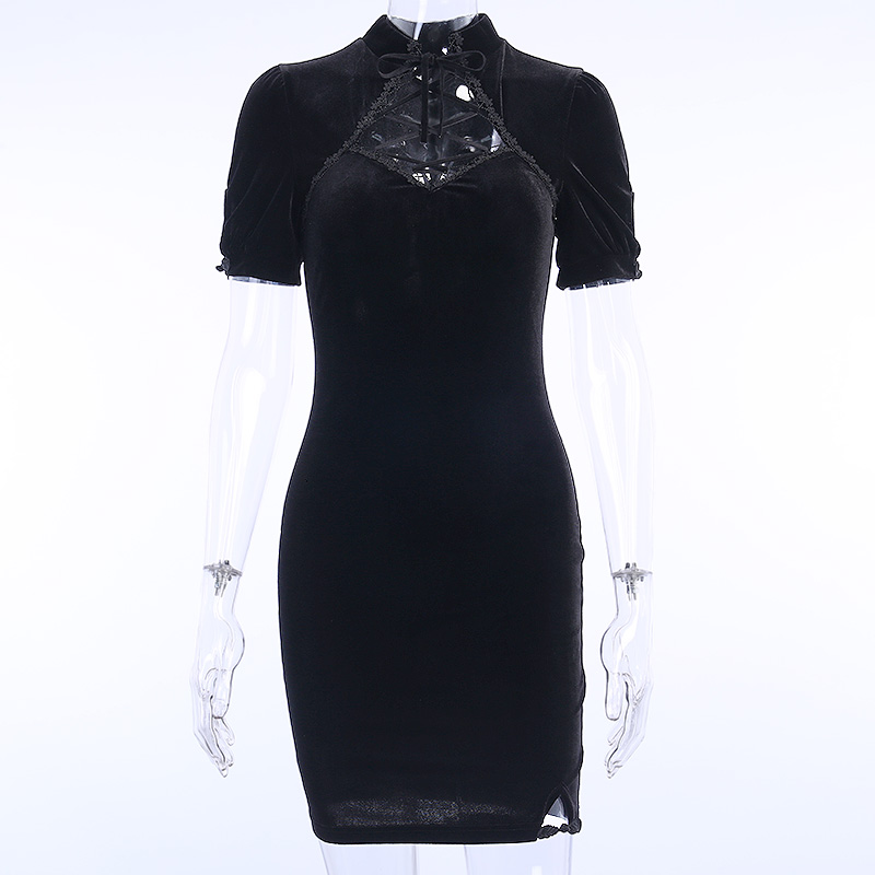 H64ed1dfbfdc7471d9f1a0bff1bb0a7442 - InsGoth Retro Bandage Black Short Sleeve Mini Dress Women Gothic Streetwear Female Dress Elegent Vintage Party Dress