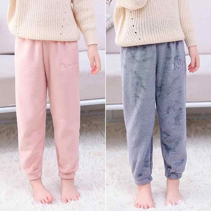 Детская Пижама для мальчиков и девочек, теплые штаны, удобная мягкая фланелевая одежда с вышивкой в Корейском стиле на осень и зиму