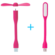 Mini USB Fan Flexible Portable Fan and USB LED Light Lamp For Power Bank & Notebook & Compu