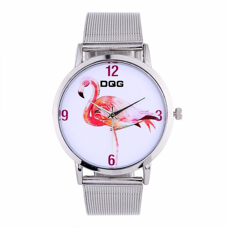 Amazon Selling Expression Of Wrist Of Female Ten Flamingoes Silver Mesh Belt Couple Leisure Quartz Watch Factory