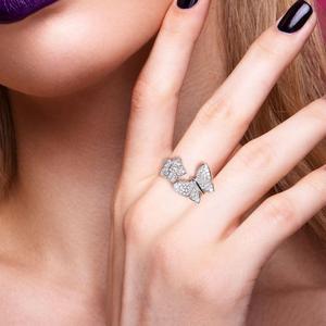 Image 5 - SANTUZZAแหวนเงิน925เงินสเตอร์ลิงGorgeousแหวนผีเสื้อสีขาวเงาCubic Zirconiaแฟชั่นเครื่องประดับ