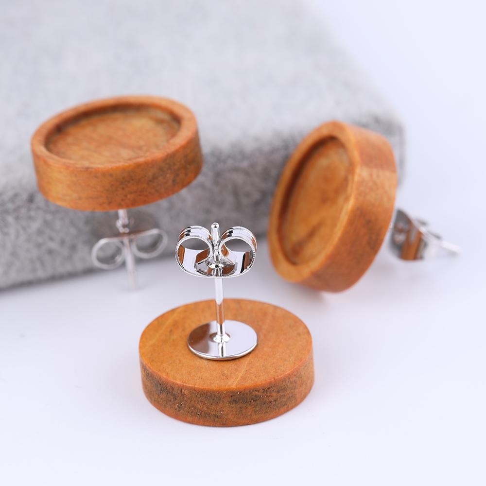 20pcs stainless steel silver earring posts findings fitting 12mm wood cabochon earring base stud blank bezels diy accessories in Jewelry Findings Components from Jewelry Accessories