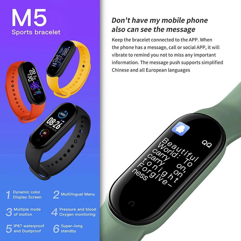 1 шт. M5 умный Спортивный Браслет Смарт-браслет с функциями измерения пульса и артериального Давление Цвет Экран смарт-браслет Зажим Перезар...