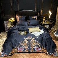 Egyptian Cotton Luxury Royal Bedding Set 4/6Pcs King Queen Size Bed cover Tribute silk Bed Sheet set Duvet cover parrure de lit
