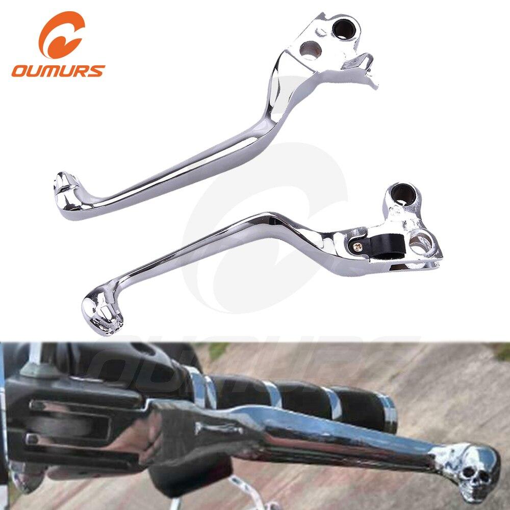 Chrom Skull Hand Levers Clutch Brake Lever For Harley Sportster XL//SOFTAIL//FLSTN