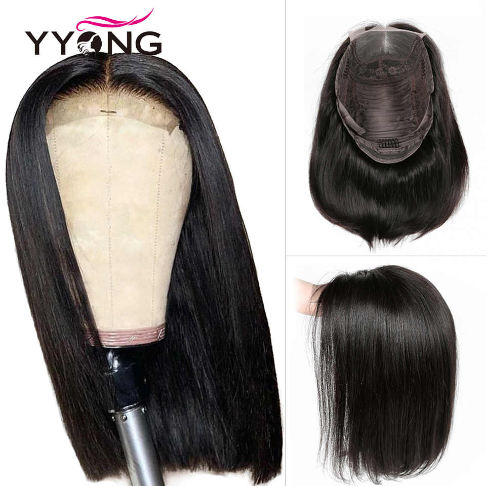 Yyong 4x4 Lace Closure Wigs Blunt Cut Bob Wig Peruvian Straight Hair For Black Woman Remy Human