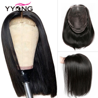 Yyong 4x4 Lace Closure Wigs Blunt Cut Bob Wig Peruvian Straight Hair Lace Closure Wigs For Black Woman Remy Human Hair Lace Wigs