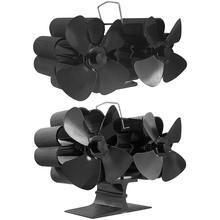 Black Fireplace Fan 8 Blade Heat Powered Stove Fan Log Wood Burner Eco Friendly Quiet Chimenea Fan Home Efficient Heat Distribut