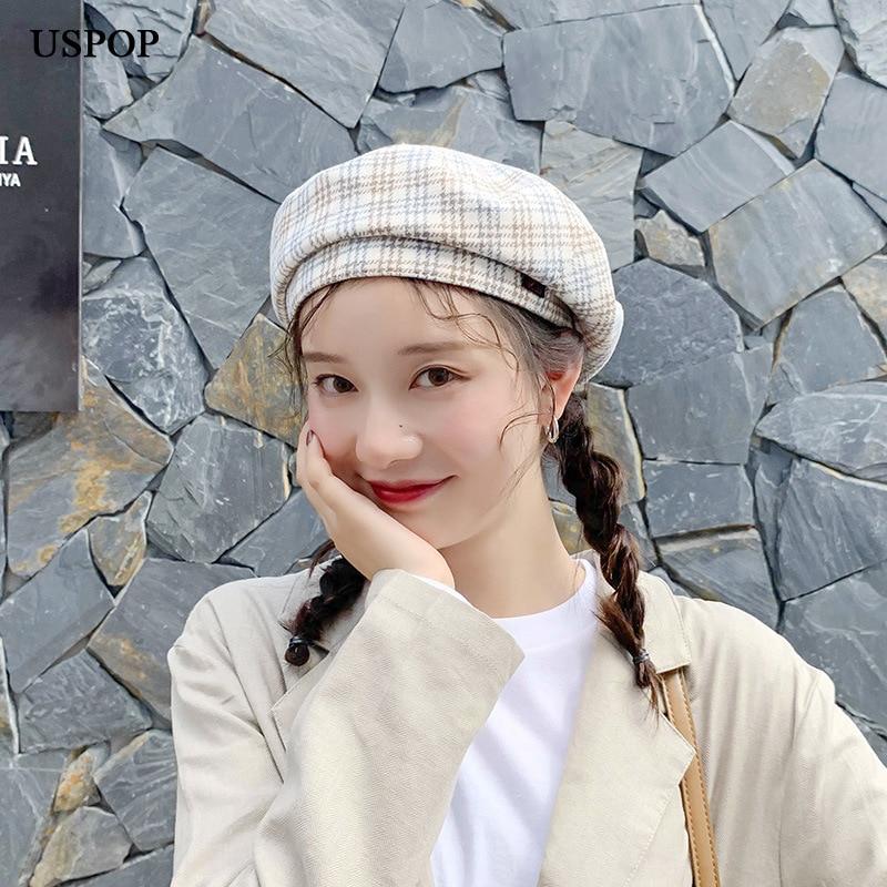 USPOP 2019 New Autumn hats women wool berets vintage plaid beret British flat top