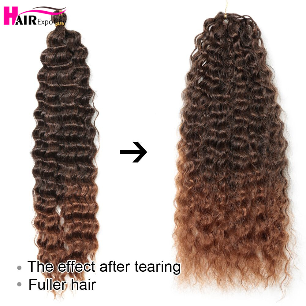22 Inch Deep Wave Twist Crochet Hair Natural Synthetic Braid Hair Ombre Braiding Hair Extensions Low Tempreture Hair Expo City