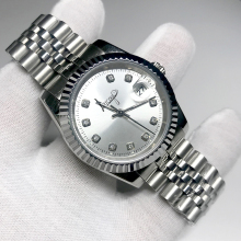 New silver Luxury Brand Watch 36mm & 40mm Automatic glide smooth second hand Mechanical Datejust Watches AAA