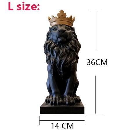 Nórdico bonito coroa leão estátuas de resina