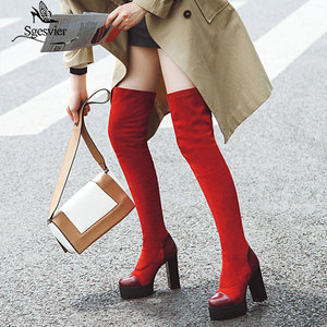 Image 1 - Sgesvier 2020 여성 무릎 부츠 라운드 발가락 플랫폼 겨울 여성 신발 패치 워크 PU 무리 광장 발 뒤꿈치 긴 부츠 G743