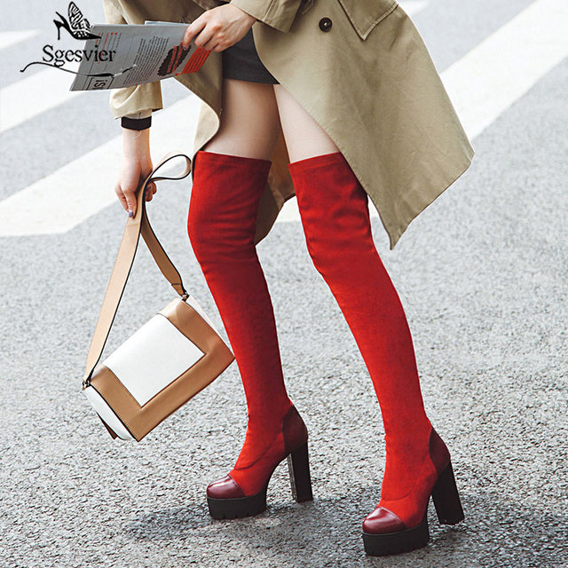 Sgesvier 2020 여성 무릎 부츠 라운드 발가락 플랫폼 겨울 여성 신발 패치 워크 PU 무리 광장 발 뒤꿈치 긴 부츠 G743