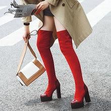 Sgesvier 2020 النساء فوق الركبة الأحذية جولة تو منصة الشتاء النساء أحذية المرقعة بولي Flock قطيع مربع كعب طويل الأحذية G743