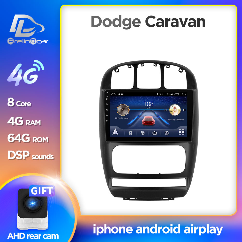 Prelingcar-monitor Multimedia para coche, Radio con reproductor de vídeo, navegación, Android 10, estéreo, para dodge caravan Chrysler Pacifica 2010 11 07