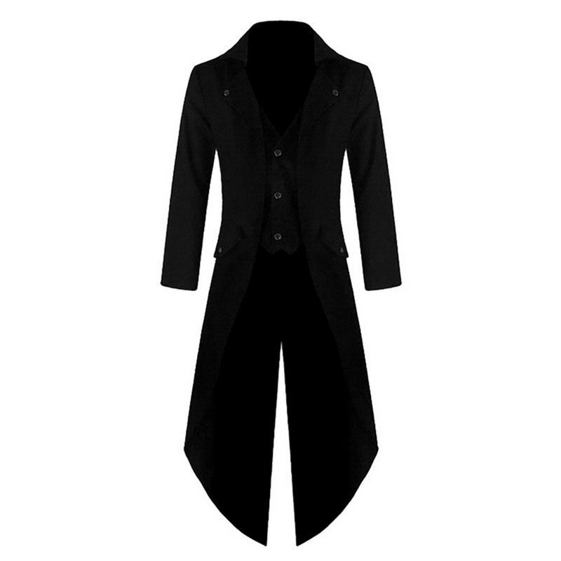 Men Vintage Suit Jacket Long Tuxedo Vintage Steampunk Retro Tailcoat Single Breasted Gothic Victorian Frock Coat Cosplay