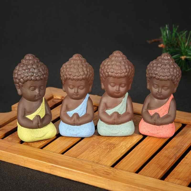 Increative pequeno buda estátua monge cerâmica ornamento estatueta tathagata índia yoga mandala chá pet roxo artesanato cerâmica decoração