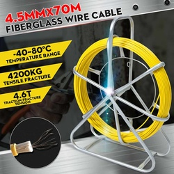 4.5mm 70m Fiber Glass Wire Fiberglass Fish Tape Cable Snake Running Rod Duct Rodder Pull Electrician 4200kg Tensile Fracture
