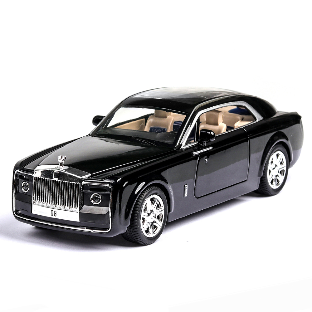 1:24 Diecast Toy Vehicl Rolls Royce Phantom Huiying Model Car Wheels Alloy Sound Light Pull Back Car Boy Kid Luminous Toy Car