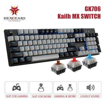 Hexgears K706B Professional Mechanical Keyboard with MX Blue Switch 104 Keys Mechanical Gaming Keyboard Blue Backlit Metal Panel