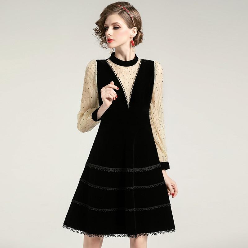 Manches longues robe femmes 2020 printemps nouvelle mode Patchwork mince taille bureau dame une ligne genou longueur robe femme S XL - 3