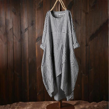 Woman Summer Boho Cotton Linen Dress Baggy Long Sleeve Plaid Dress Plus Size 4XL 5XL Casual Ladies Kaftan Maxi Dress Sundress 1