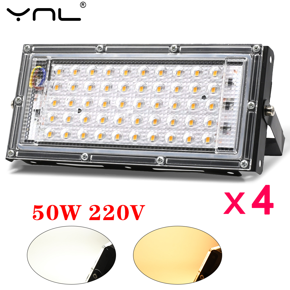 4pcs 50W LED Flood Light AC 220V 230V 240V IP65 Waterproof Outdoor Floodlight Spotlight LED Street Lamp Wall Lighting Reflector