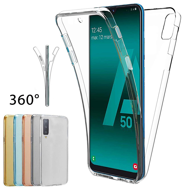 Clear 360 Full Phone Case For Samsung Galaxy A50 30 40 10 M10 20 30 20 60 70 S10 S8 9 Plus Shockproof Soft TPU Back Cover Coque