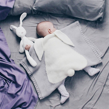 Newborn Blankets Swaddle Baby Knitted Warm Sleeping Swaddling Wrap Kid Infant Rabbit Ear Cartoon Toddler Bedding Kids Bath Towel цена в Москве и Питере
