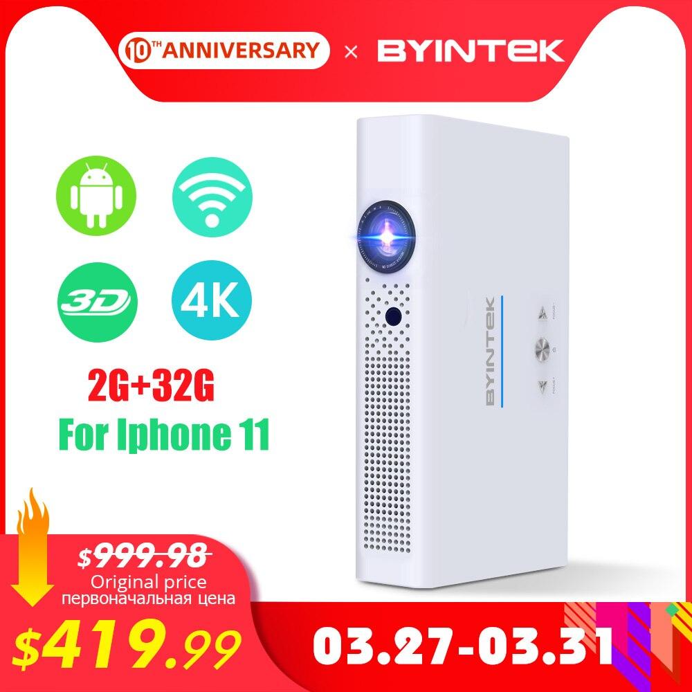 Byintek mini projetor 3d r19 4 k, beamer esperto do andróide de wifi, proyector portátil do laser de dlp do diodo emissor de luz para o smartphone 300 polegada hd completo 1080