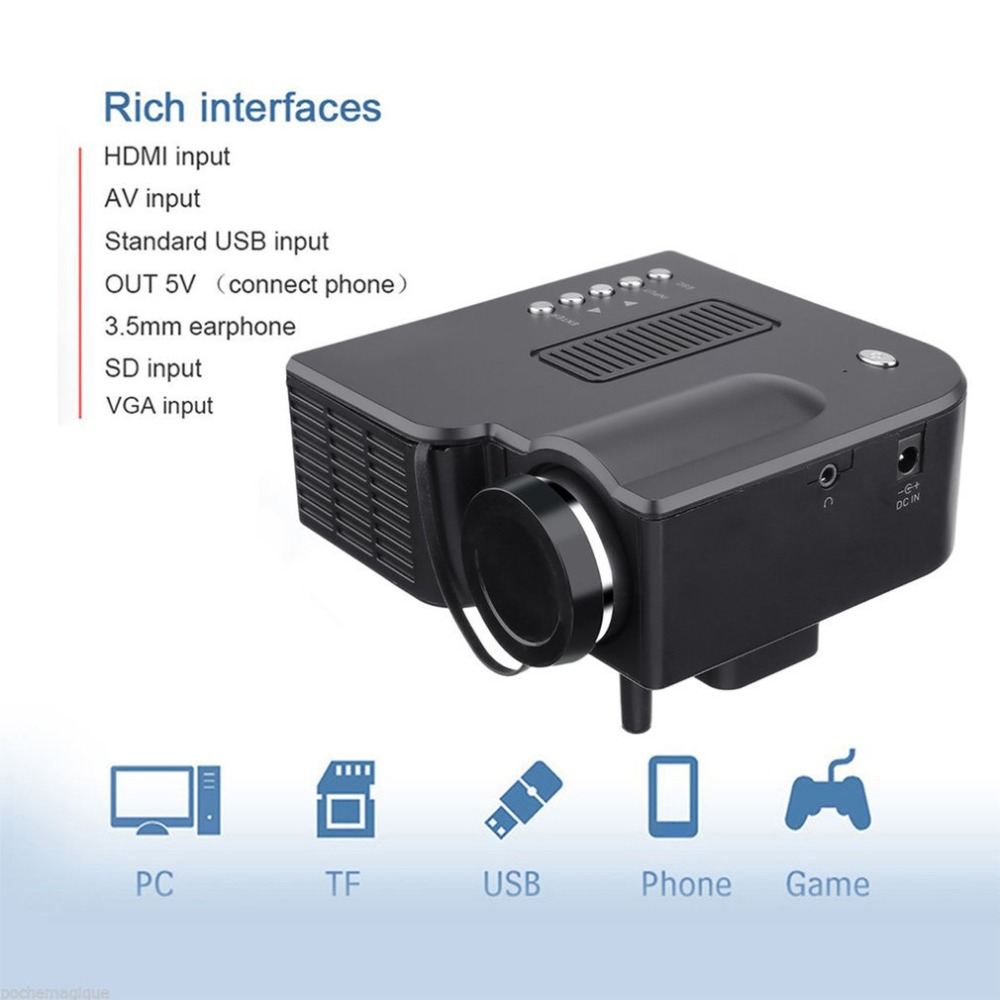 Uc28 mini projetor hd casa 1080 p