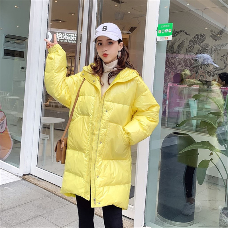 2019 Winter New bright face   Down   jacket Women Long Korean Loose Large size Parka white duck   down   Thick Warm   Down     Coat   W190
