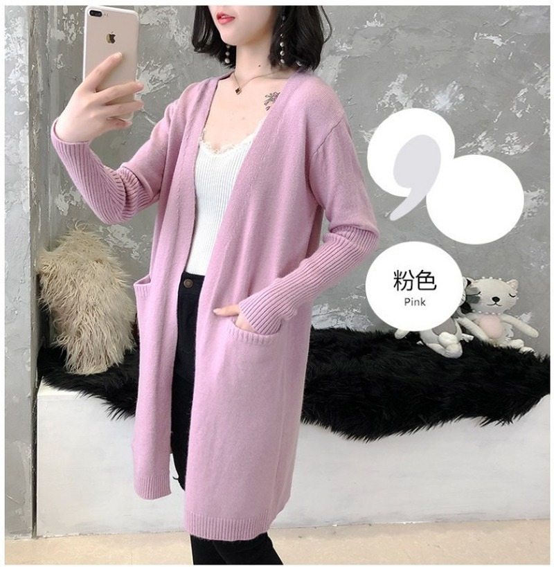 Sweater Coat Is Long For Women Loose Solid Knit Cardigan With A New Pocket Long Sleeve Sweater Knit Sweater Women