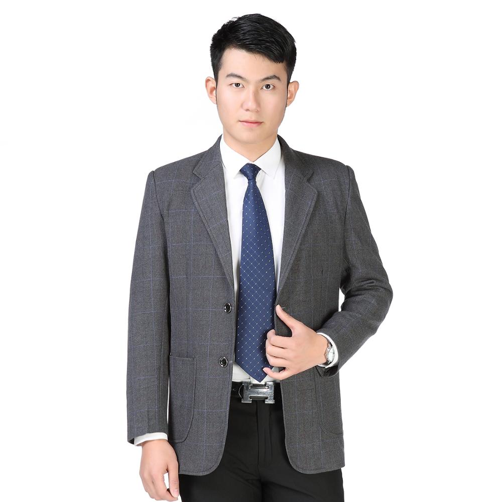 Men Smart Casual Blazers Black Blue Gray Dark Plaid Pattern Suit Jackets Male Notched Collar Blazer Business Tailor Suit Outfit
