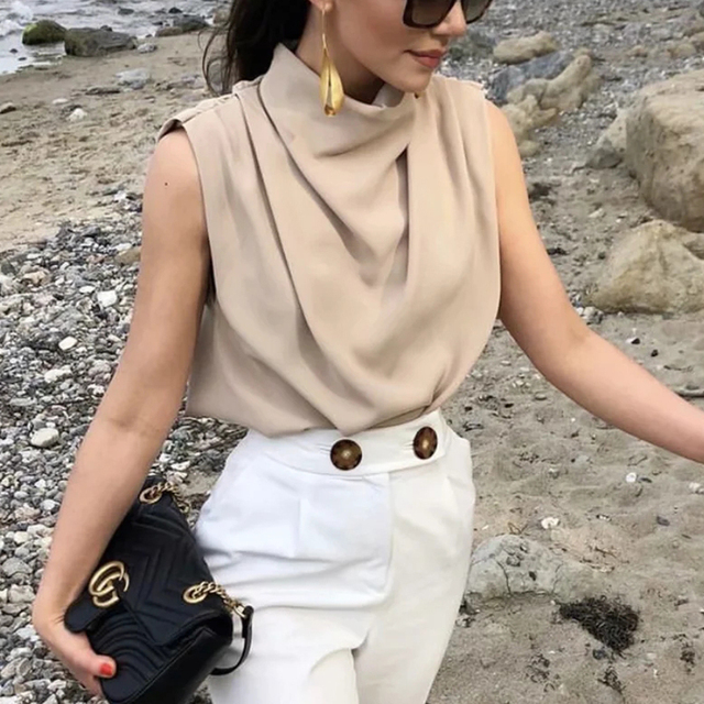Vintage Women Elegant Stand Collar Soft Shirts 2021 Summer Fashion Ladies Stylish Loose Blouses Casual Female Tops Girls Chic 1