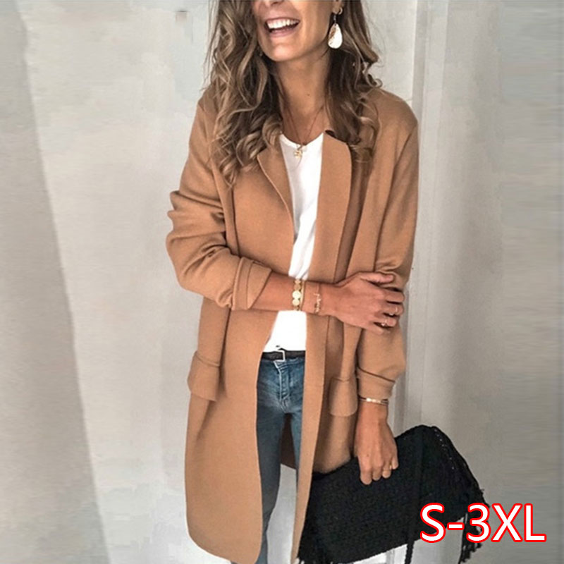Spring Long Sleeve Fake Pocket Jacket Women Casual Turn-Down Collar Jacket Overcoat Plus Size Tops Outwear Blazer Feminino