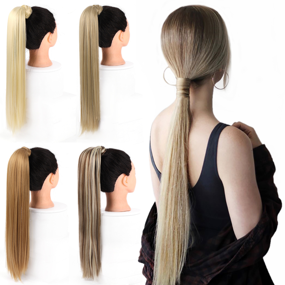 AOSIWIG 24'' Long Straight Clip In Hair Ponytail Extension Hairpiece Heat Resistant Synthetic Natural Fake Pony Tail For Women