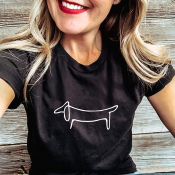 Simple Dachshund Dog Print Clothes Women Summer T Shirt Graphic Tees Female Harajuku Aesthetic Short Sleeve Tops Camisetas Mujer - discount item  30% OFF Tops & Tees