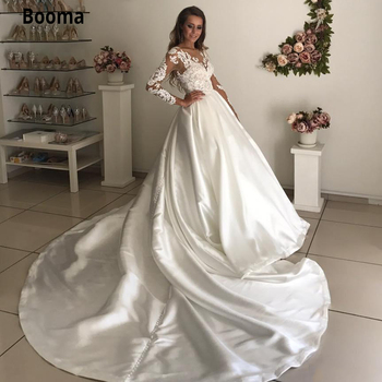 Booma Ball Gown Wedding Dresses with Full Sleeve Illusion Elegant Lace Appliques Satin Wedding Bridal Gown Sheer Neck Plus Size