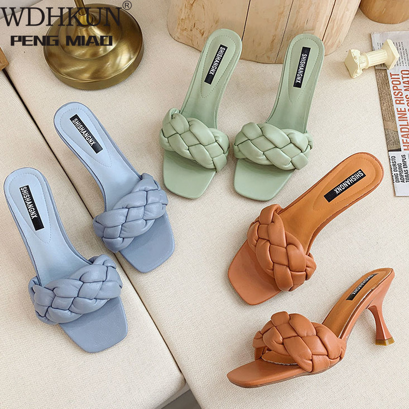 Weave Designer Women Slipper Ladies Thin High Heel Sandal 2021 New Summer Slip On Open Toe Brown Outdoor Slides Flip Flop Shoe