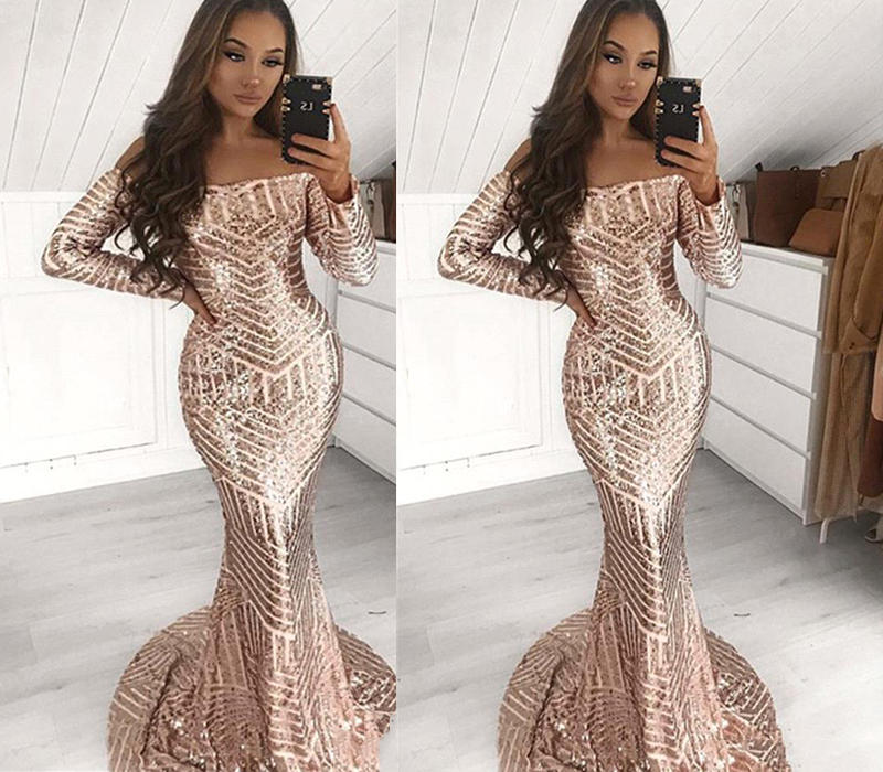 Stunning Full Sequins Mermaid Prom Dresses Long Sleeve Off Shoulder African Black Women Occasion Party Gowns Evening Dress