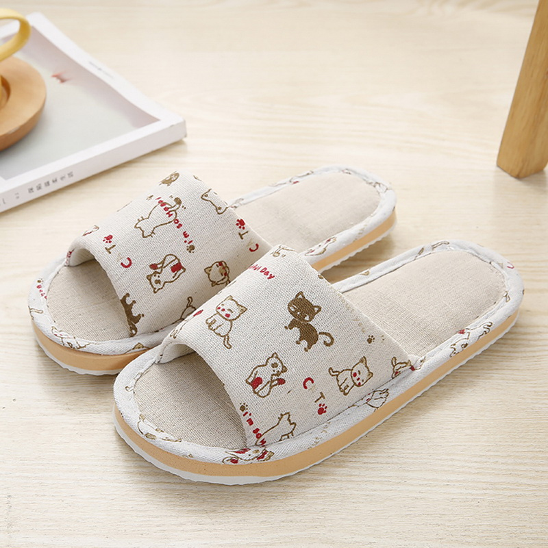 Unisex Slippers Broken Flower Home Slippers 2020 New Fashion Female And Male Cotton Floor Slippers Casual Non-slip Shoes