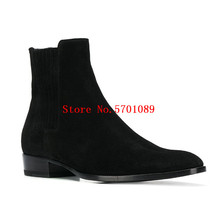 West 45 Suede Chelsea Boots Genuine Leather Suede Fashion Trends Kanye West London Chelsea Boots Classic Shoes men kanye west chelsea boots male silky gloss suede leather mashup boot italian leather luxury men vintage martin shoes