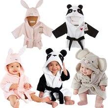 Новорожденный инфантил младенец для мальчиком и девочек с животными банный халат детский купальный Халат с капюшоном для купания медовый ребенок пижамы Халаты От 6 месяцев до 5 лет