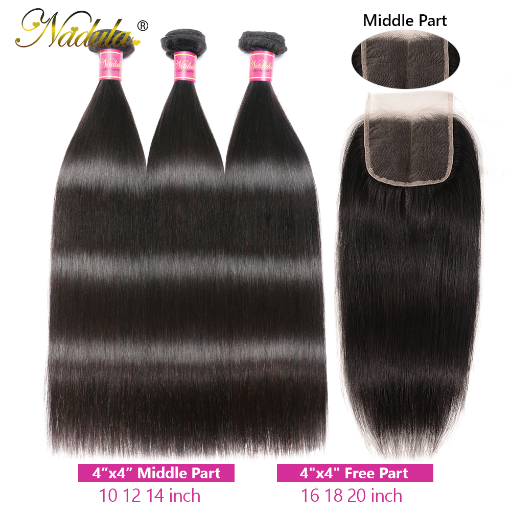 Nadula Hair 3 Bundles  Straight Hair With Closure 4*4 Lace Closure With  s Straight Bundles With Closure 4