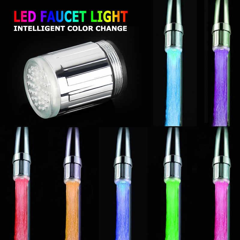 Dapur Kamar Mandi Aksesoris 3 Warna RGB Shower LED Faucet Suhu Lampu LED Air Shower Kepala Air Keran