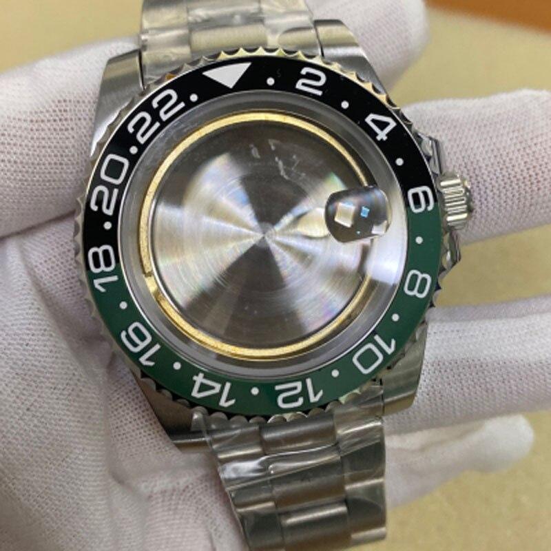40mm relógio de vidro safira aço inoxidável
